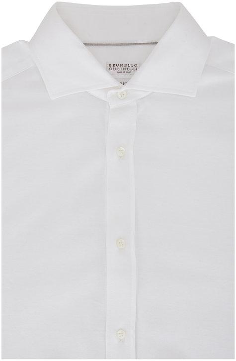Brunello Cucinelli White Jersey Basic Fit Knit Sport Shirt