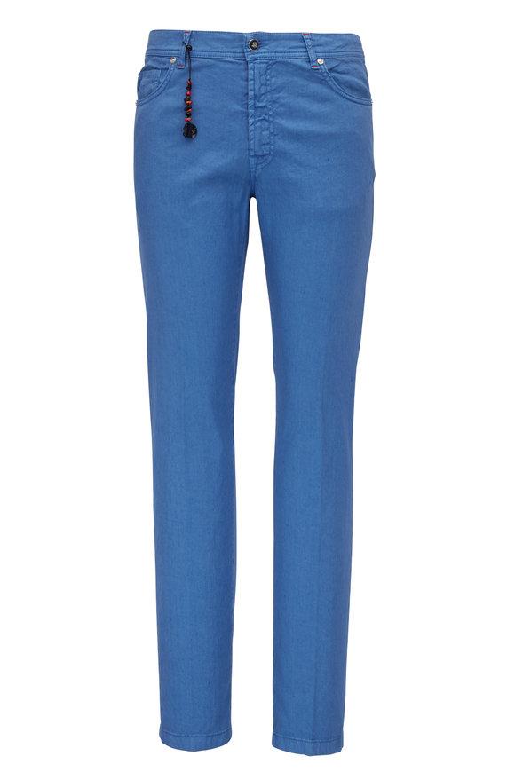 Marco Pescarolo Sea Blue Cotton & Linen Five Pocket Pant