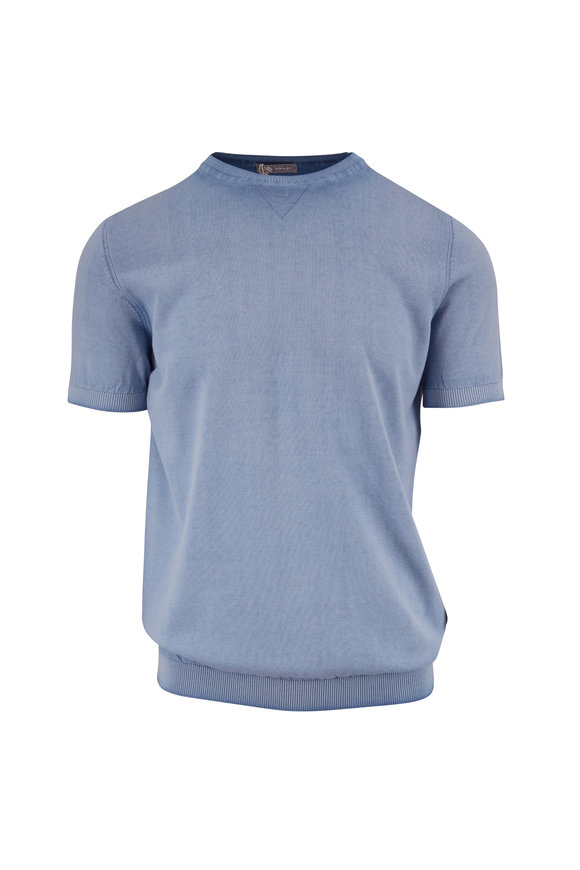 Fradi Light Blue Washed Cotton Short Sleeve Knit Sweater