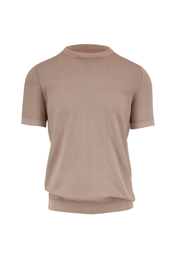 Fradi Tan Washed Cotton Short Sleeve Knit Sweater