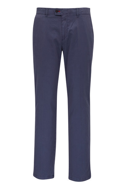 Brax - Navy Brushed Cotton Flat Front Pant