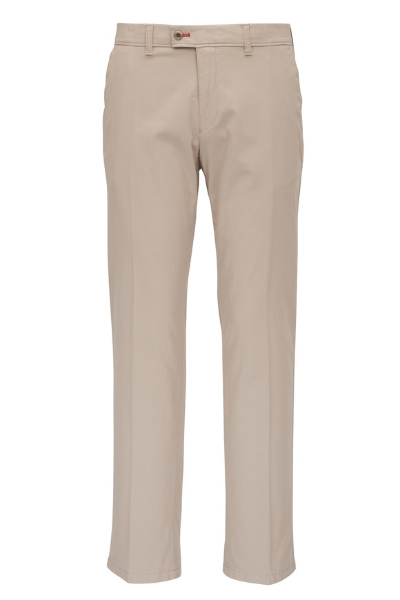Brax Evans Beige Brushed Cotton Flat Front Pant