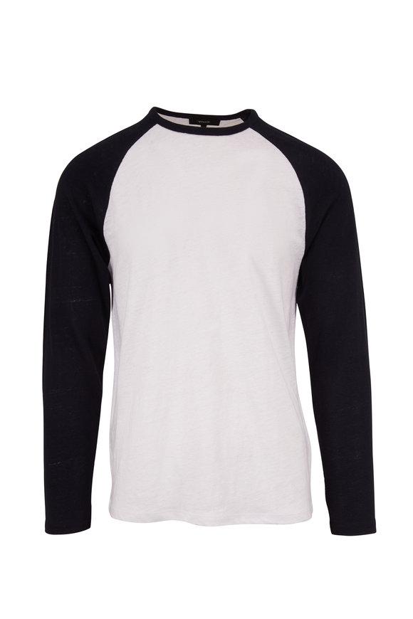 Vince White & Navy Linen Baseball Crew T-Shirt