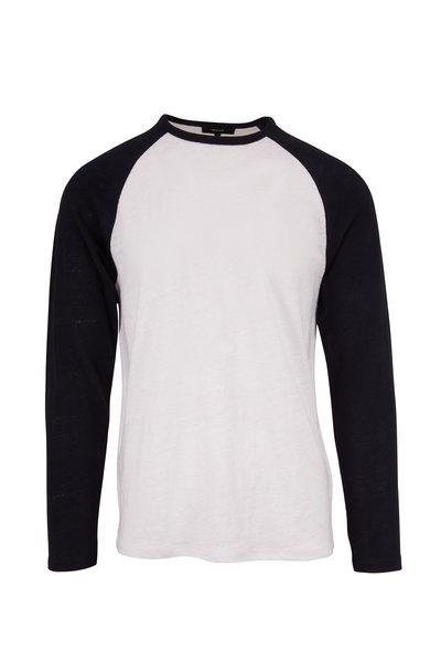 Vince - White & Navy Linen Baseball Crew T-Shirt