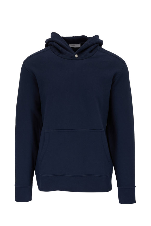 BLDWN Cale Navy Blue Mixed-Knit Hoodie
