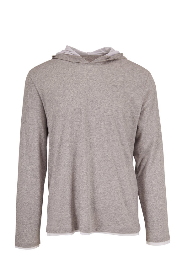 Vince Gray Cotton Double-Layer Hoodie
