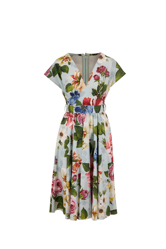 Dolce & Gabbana Light Blue Stretch Cotton Floral Cap Sleeve Dress