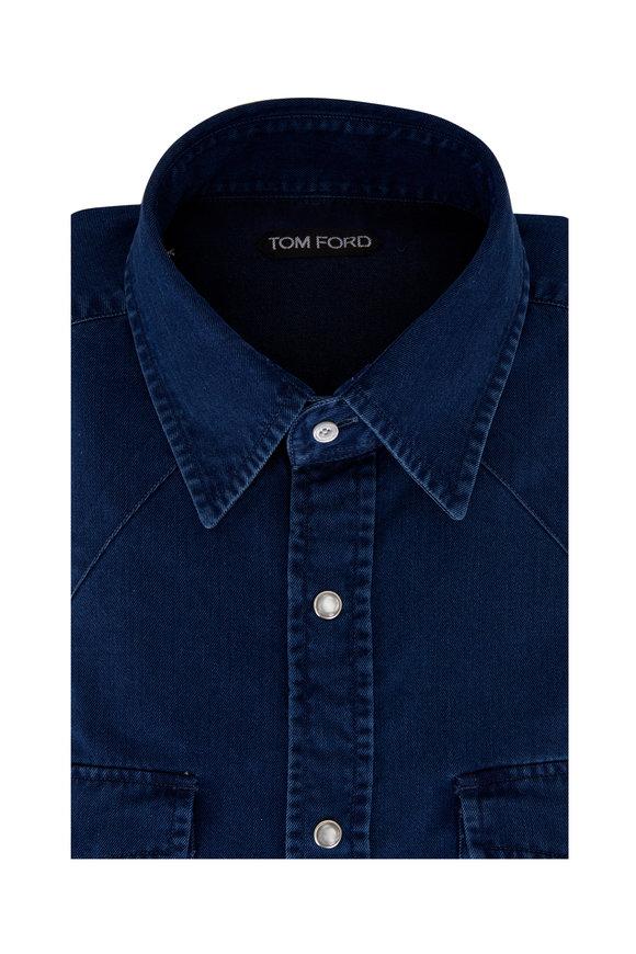 Tom Ford Dark Wash Denim Western Shirt