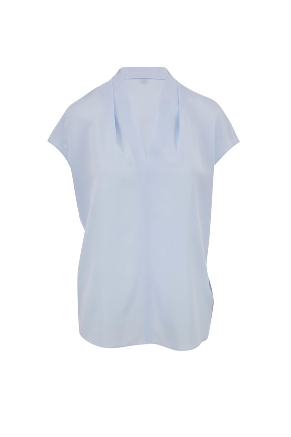 Escada Light Blue Silk V-Neck Blouse