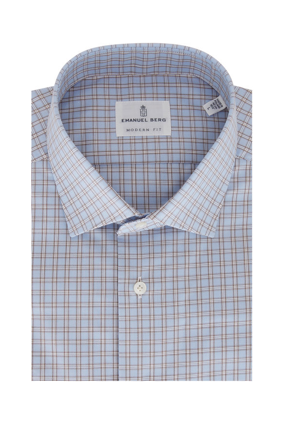 Emanuel Berg Light Blue Plaid Modern Fit Sport Shirt