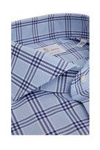 Emanuel Berg - Light Blue & Blue Plaid Modern Fit Sport Shirt