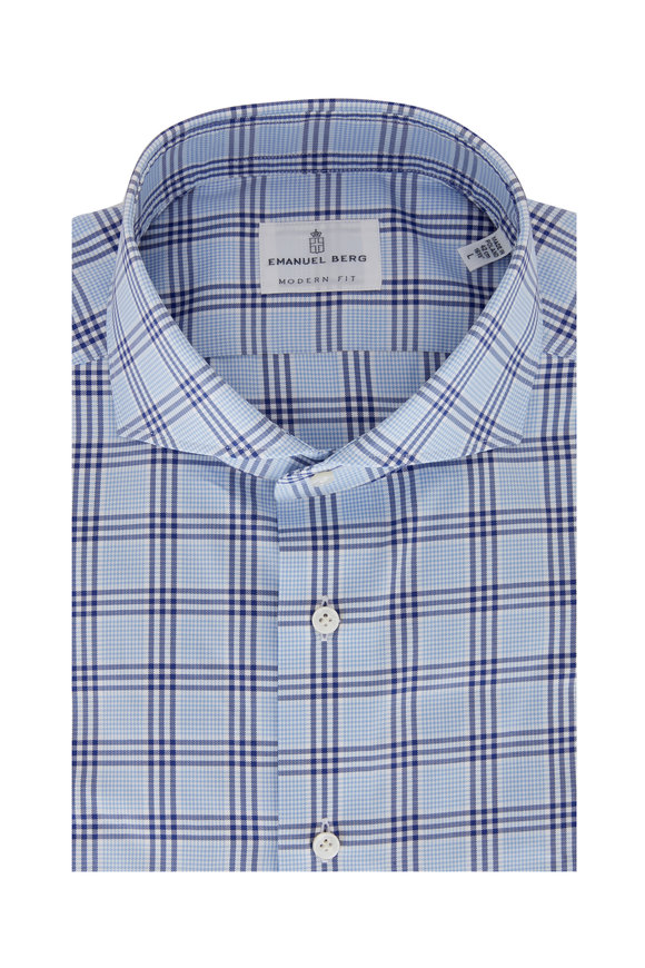 Emanuel Berg Light Blue & Blue Plaid Modern Fit Sport Shirt