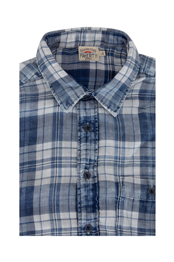 Faherty Brand Seaview Nautilus Blue Plaid Sport Shirt
