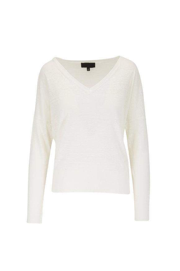 Nili Lotan Ginny Ivory Linen V-Neck Sweater