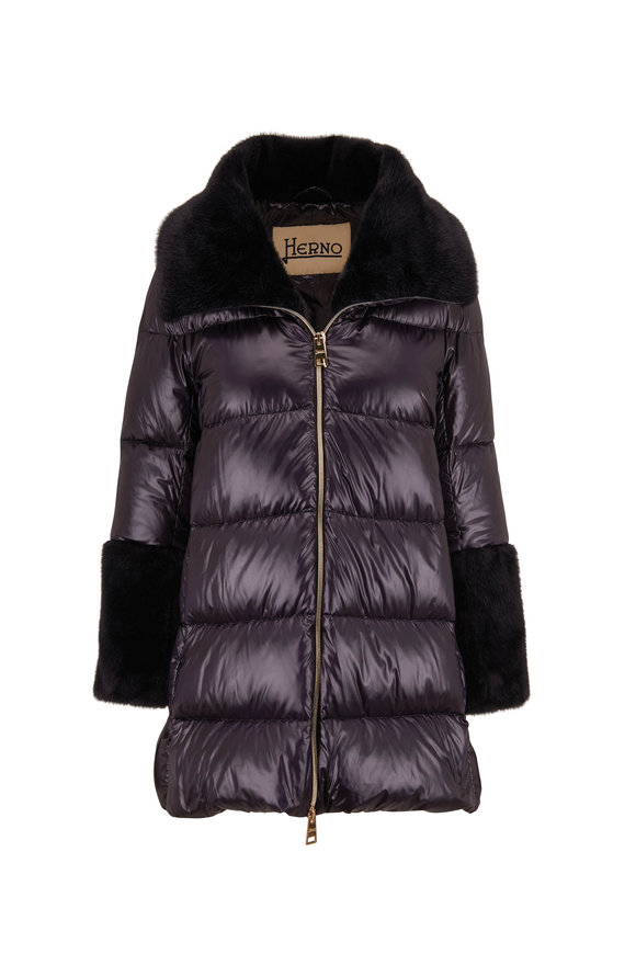 Herno Black Quilted Nylon Faux Fur Trim Puffer Coat