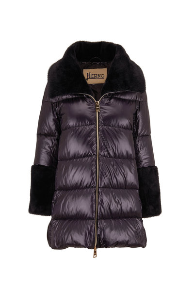 Herno - Black Quilted Nylon Faux Fur Trim Puffer Coat