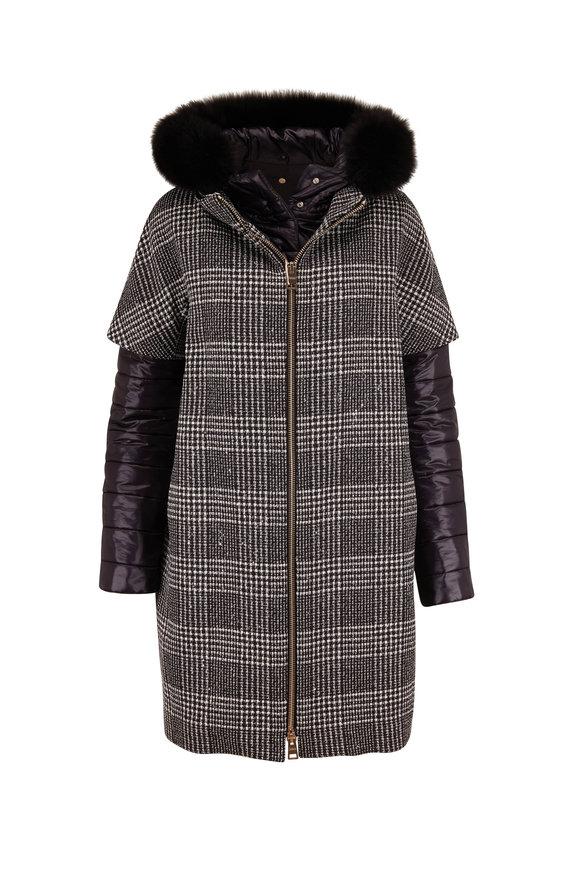 Herno Black Plaid Pailettes Wool & Nylon Layered Coat