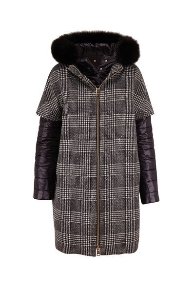 Herno - Black Plaid Pailettes Wool & Nylon Layered Coat