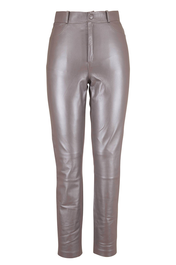 Zeynep Arcay Silver Leather Five Pocket Legging
