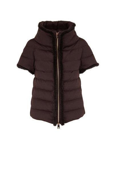 Herno - Chocolate Cashmere Mink Trim Cap Sleeve Coat