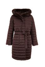 Herno - Brown Cashmere & Puffer Fur Trim Reversible Coat