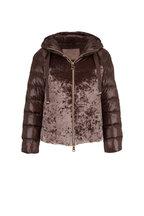 Herno - Chocolate Crushed Velvet & Puffer Coat