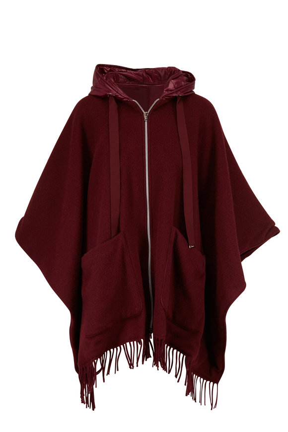 Herno Wine Wool & Quilted Nylon Reversible Poncho