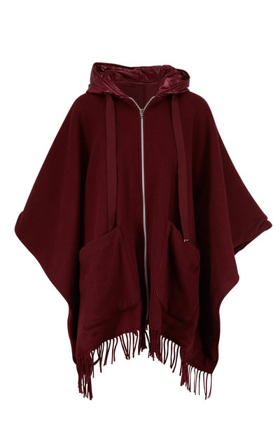 Herno - Wine Wool & Quilted Nylon Reversible Poncho