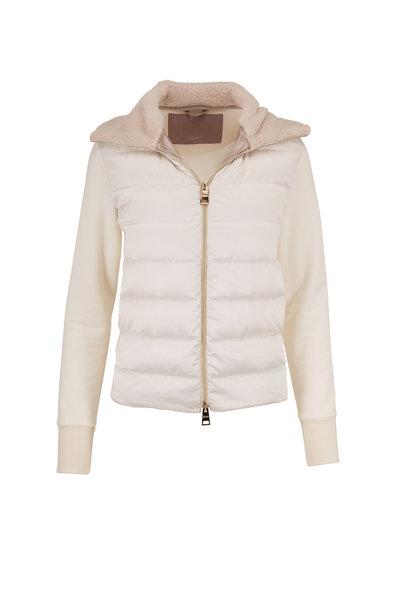 Herno - Cream Wool & Down Faux Fur Trim Jacket
