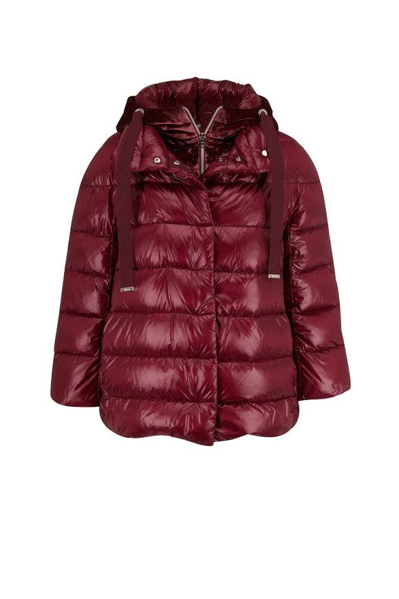 Herno Wine Puffer & Zip-Off Velour Hooded Vest Coat