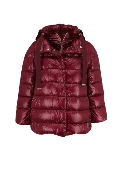 Herno - Wine Puffer & Zip-Off Velour Hooded Vest Coat