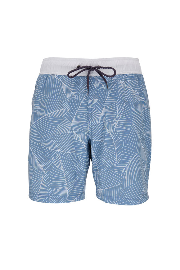 Faherty Brand Beacon Blue & White Leaf Pattern Swim Trunks