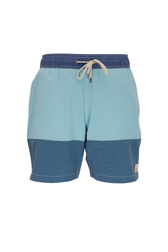 Faherty Brand Beacon Jade & Navy Blue Colorblock Swim Trunks