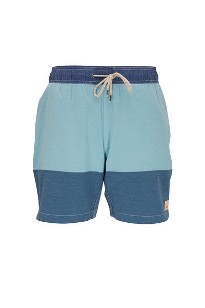 Faherty Brand - Beacon Jade & Navy Blue Colorblock Swim Trunks