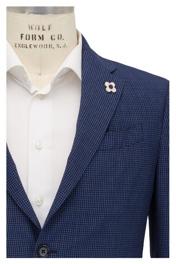 Lardini Blue & Black Mini Check Wool Blend Sportcoat
