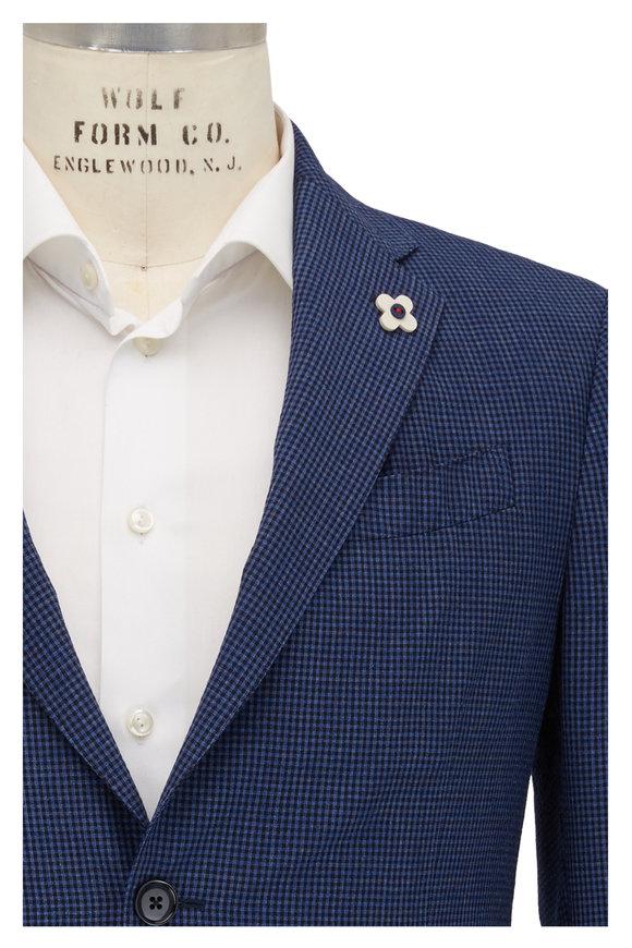 Lardini Blue & Black Mini Check Wool Blend Sportcoat