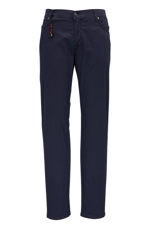 Marco Pescarolo Navy Cotton & Silk Five Pocket Pant