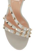 Valentino Garavani - Rockstud Opal Gray Leather Slingback Sandal, 85mm