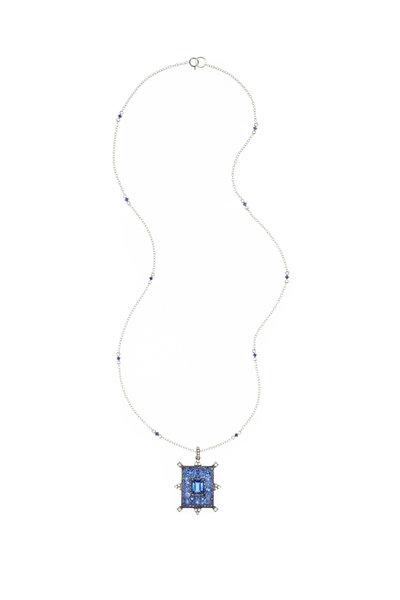 Nam Cho - White Gold Rectangle Sapphire & Diamond Necklace