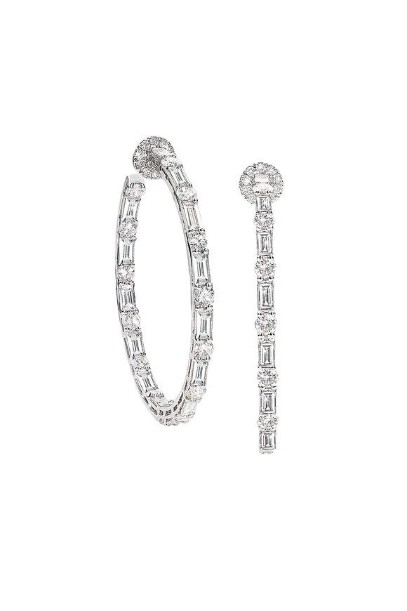 Nam Cho 18K White Gold Baguette Diamond Hoop Earrings