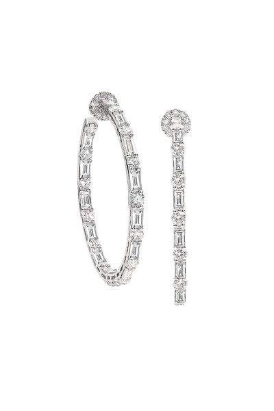 Nam Cho - 18K White Gold Baguette Diamond Hoop Earrings