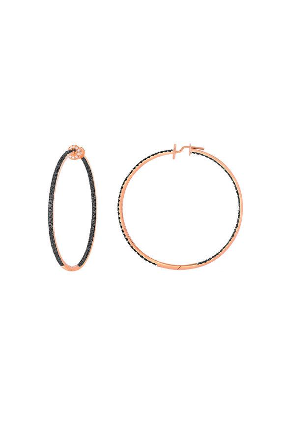Nam Cho 18K Rose Gold Black Diamond  Hoop Earrings