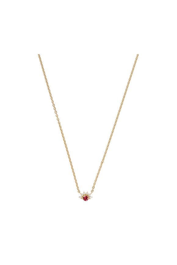 Nouvel Heritage 18K Yellow Gold Mystic Red Spinel Necklace