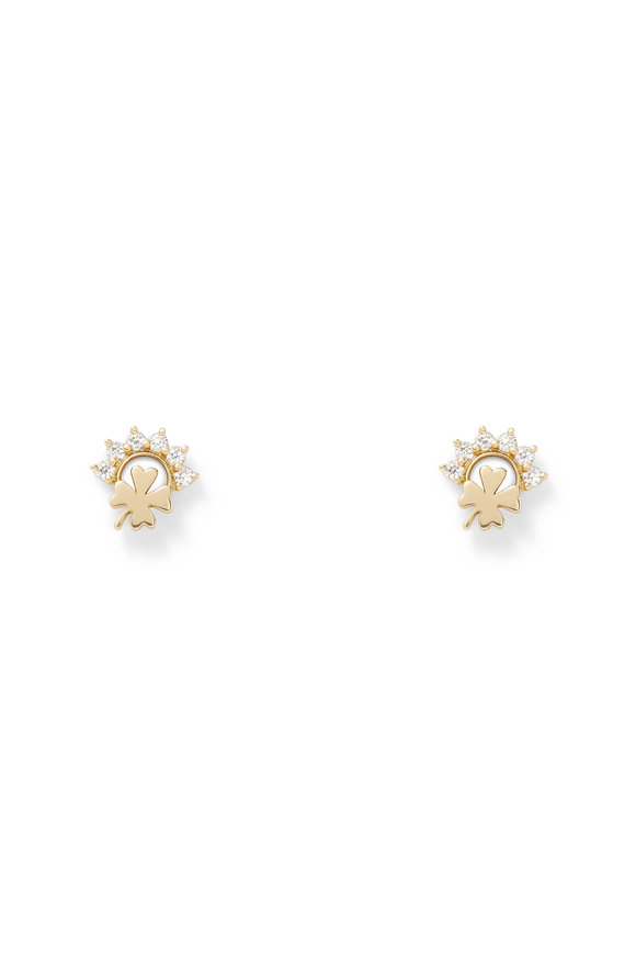 Nouvel Heritage 18K Yellow Gold Mystic Luck Stud Earrings