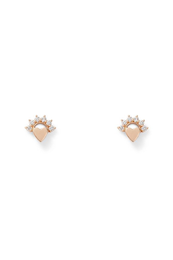 Nouvel Heritage 18K Rose Gold Mystic Diamond Stud Earrings