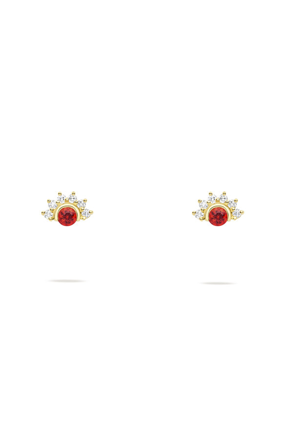 Nouvel Heritage 18K Yellow Golf Mystic Red Spinel Stud Earrings