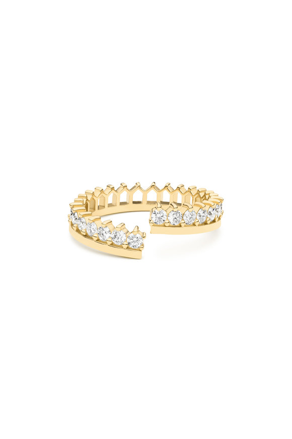Nouvel Heritage 18K Yellow Gold Single Stack Diamond Ring