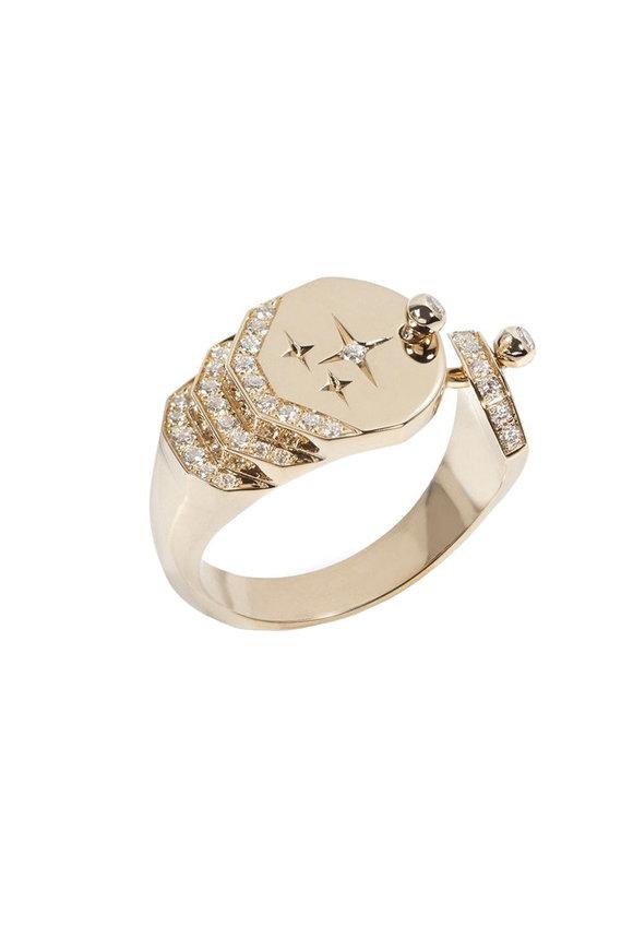 Nouvel Heritage 18K Yellow Gold Signet Diamond Sparkle Ring