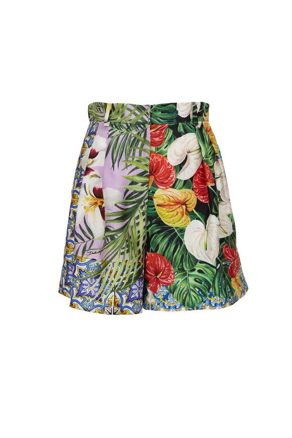 Dolce & Gabbana Silk Shantung Multi-Floral Jungle Print Shorts