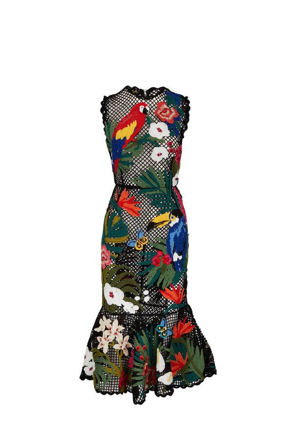Dolce & Gabbana Black Crochet Hand-Embroidered Sleeveless Dress